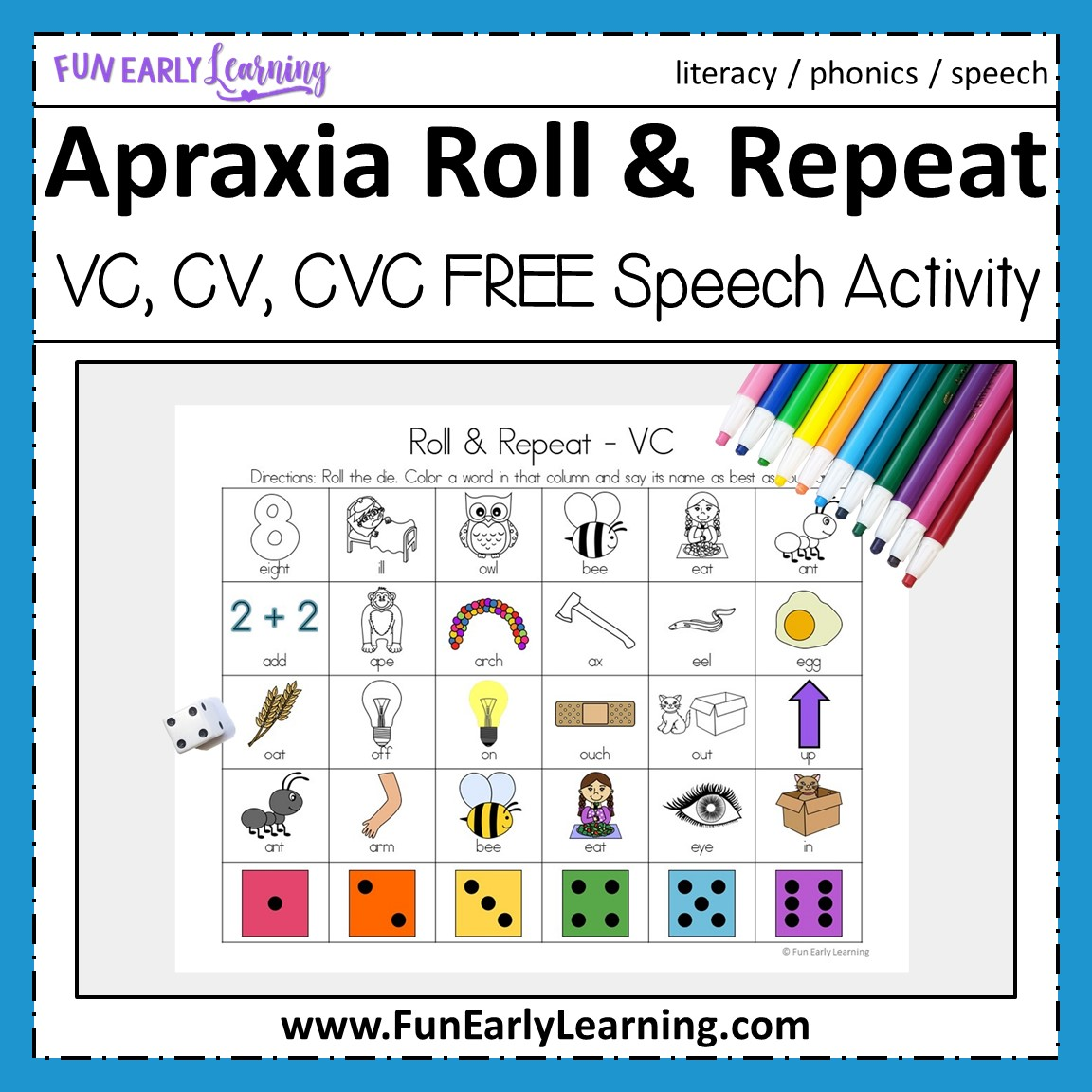 Apraxia Roll And Repeat For Vc Cv And Cvc Words For