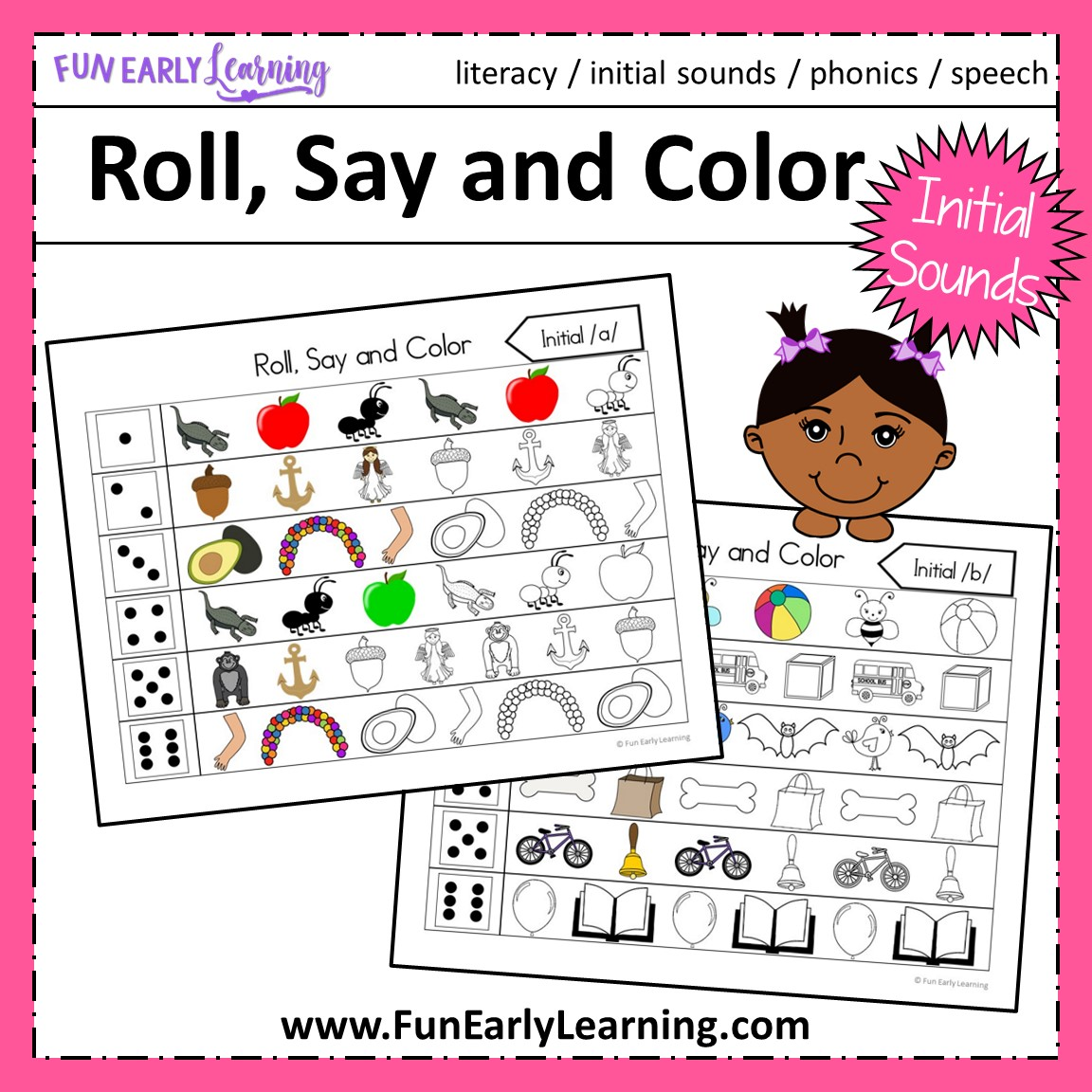 Roll Say And Color Initial Sounds Activity For Phonics