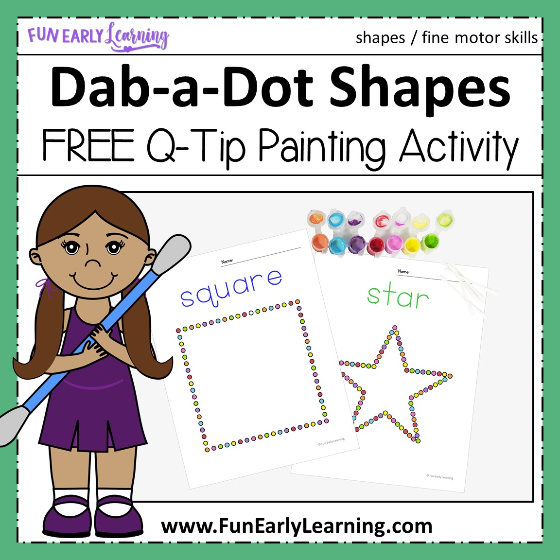 Dab A Dot Shapes Q Tip Painting Activity For Shapes And