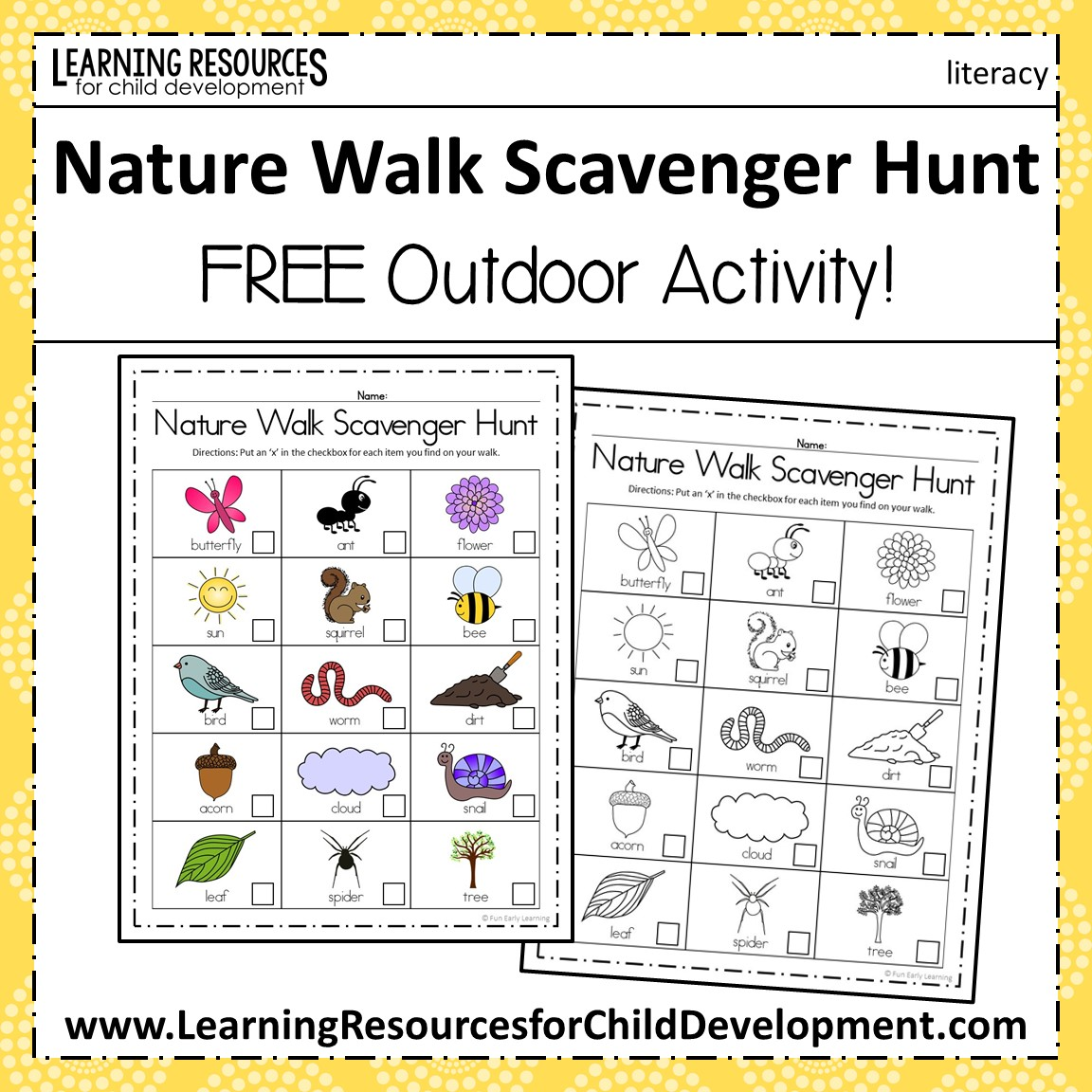 Nature Walk Scavenger Hunt Activity