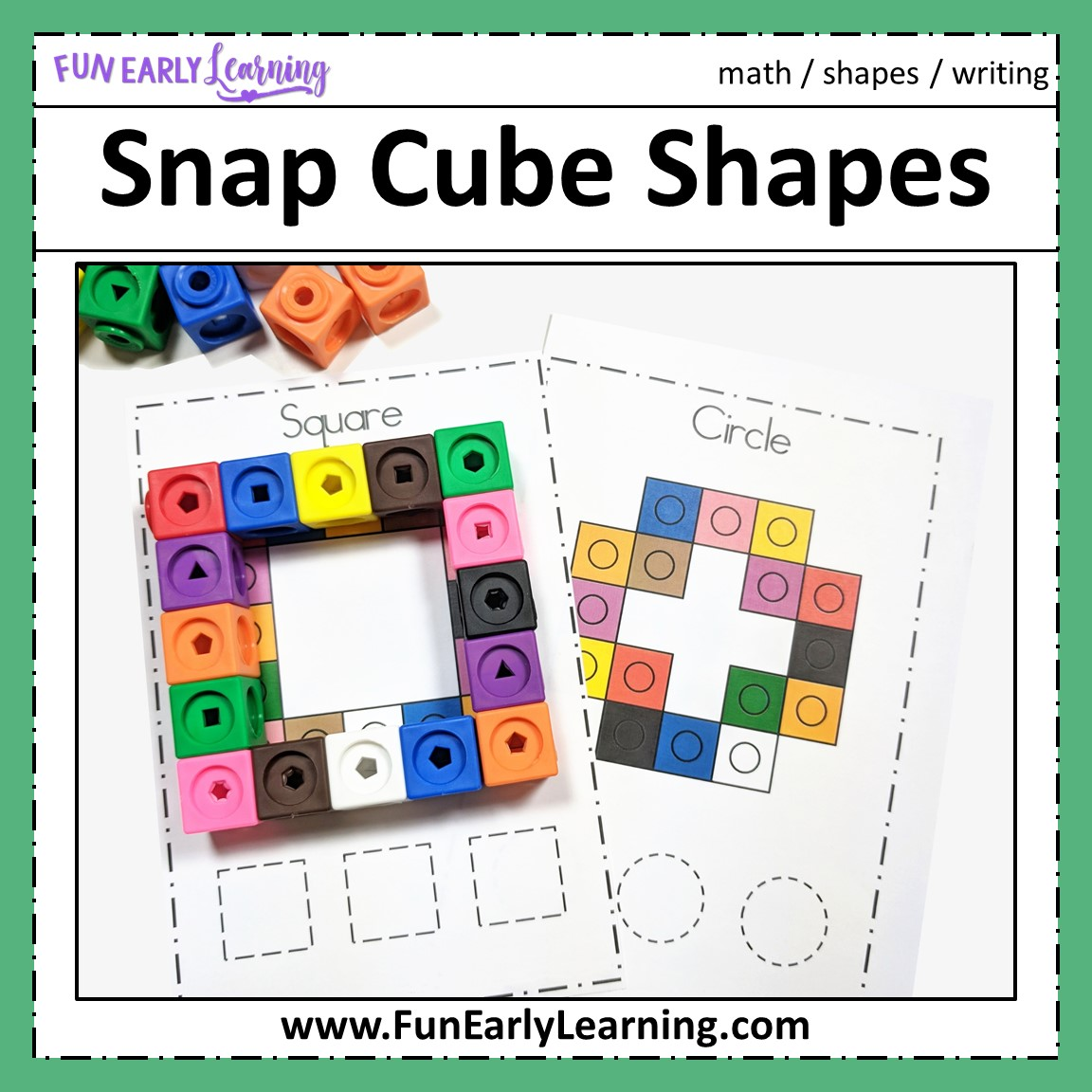 Snap Cube Shapes Math Center Activity For Preschool And