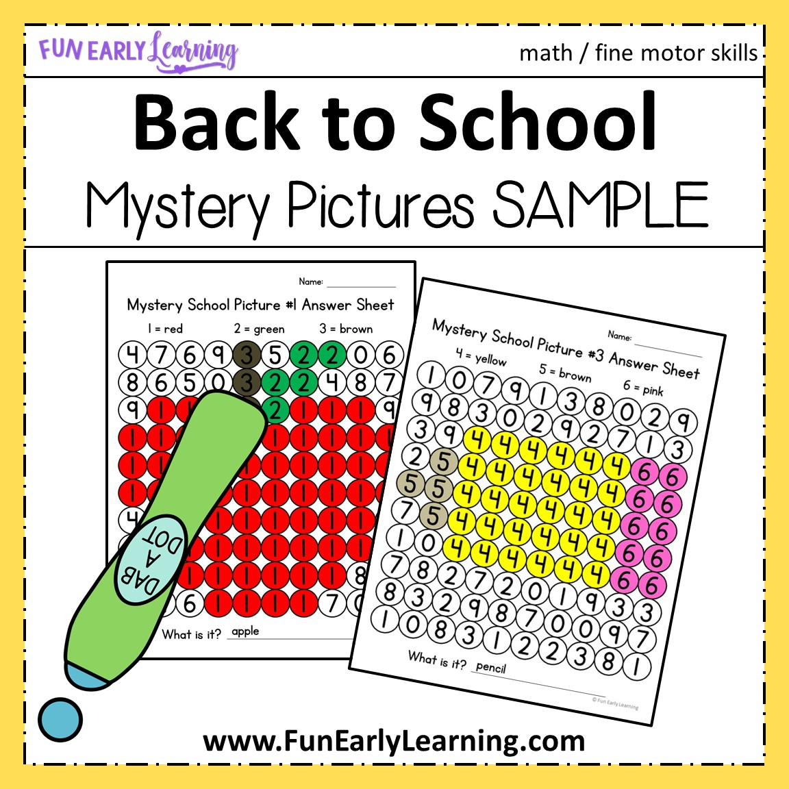 Back To School Math Mystery Pictures For Preschool And Kindergarten