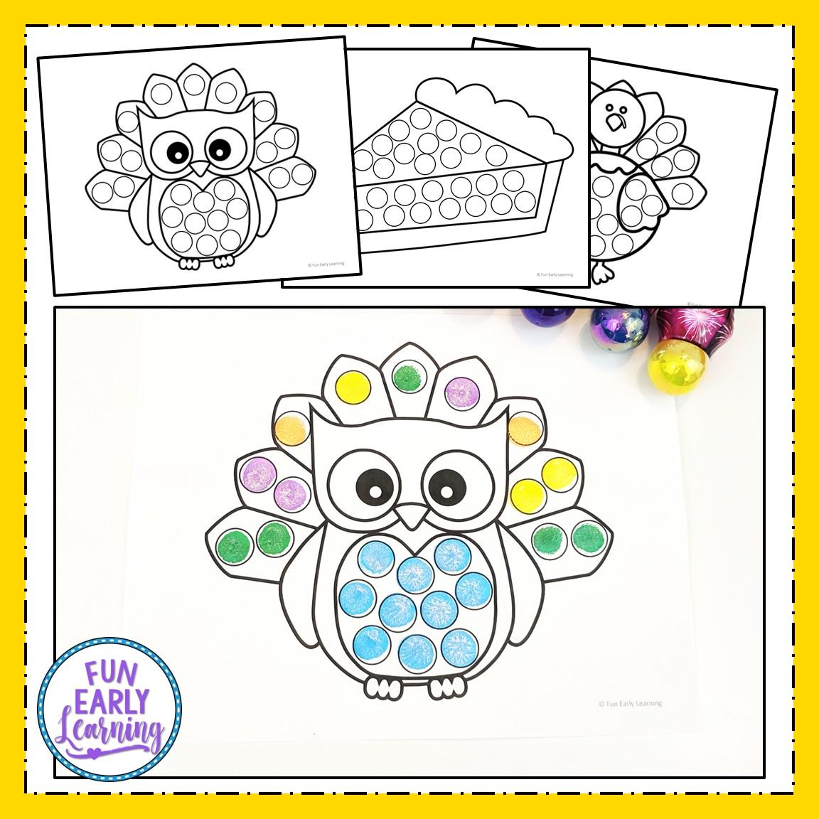Thanksgiving Bingo Dauber Coloring Pages Free Printable