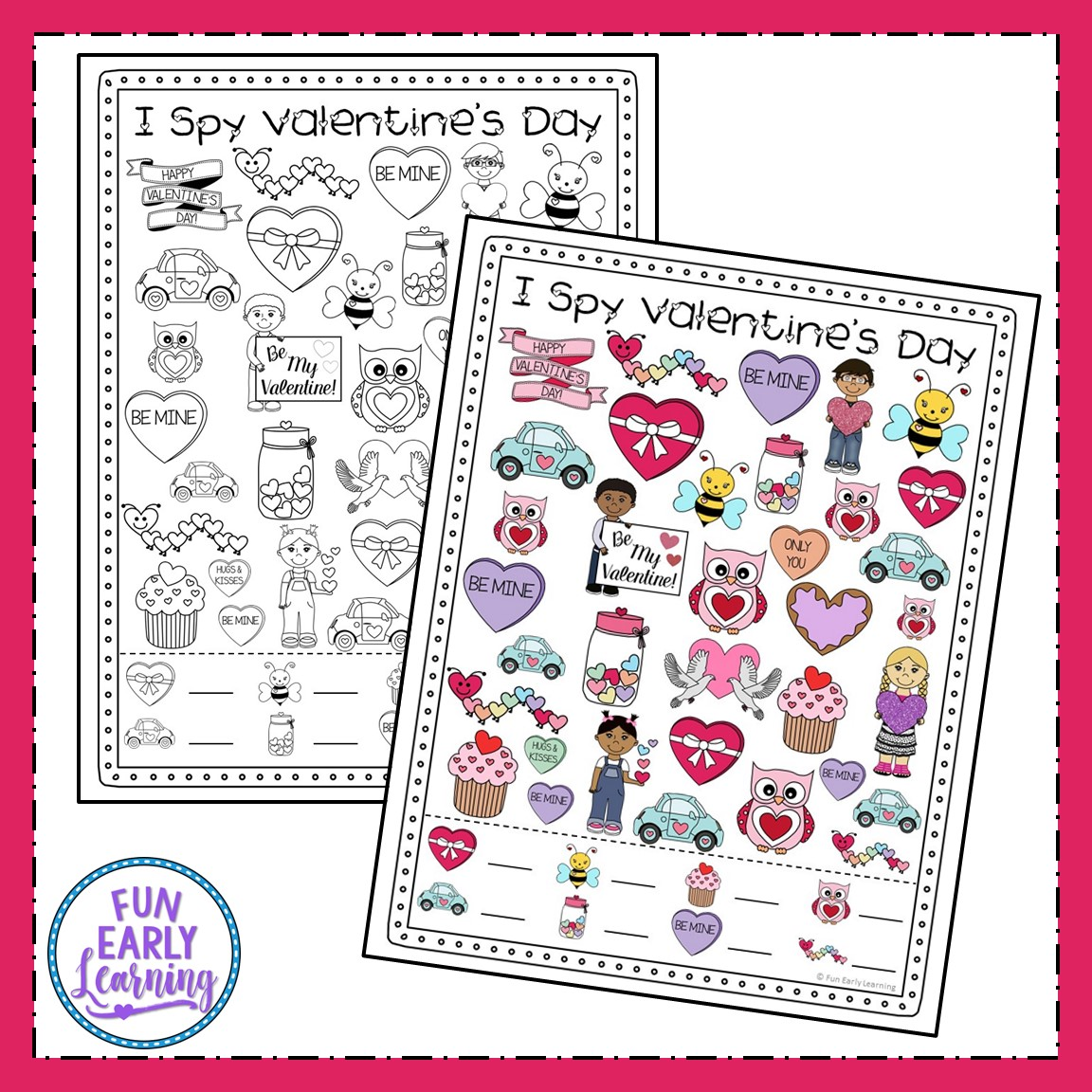 I Spy Valentine S Day Free Printable For Matching And Counting