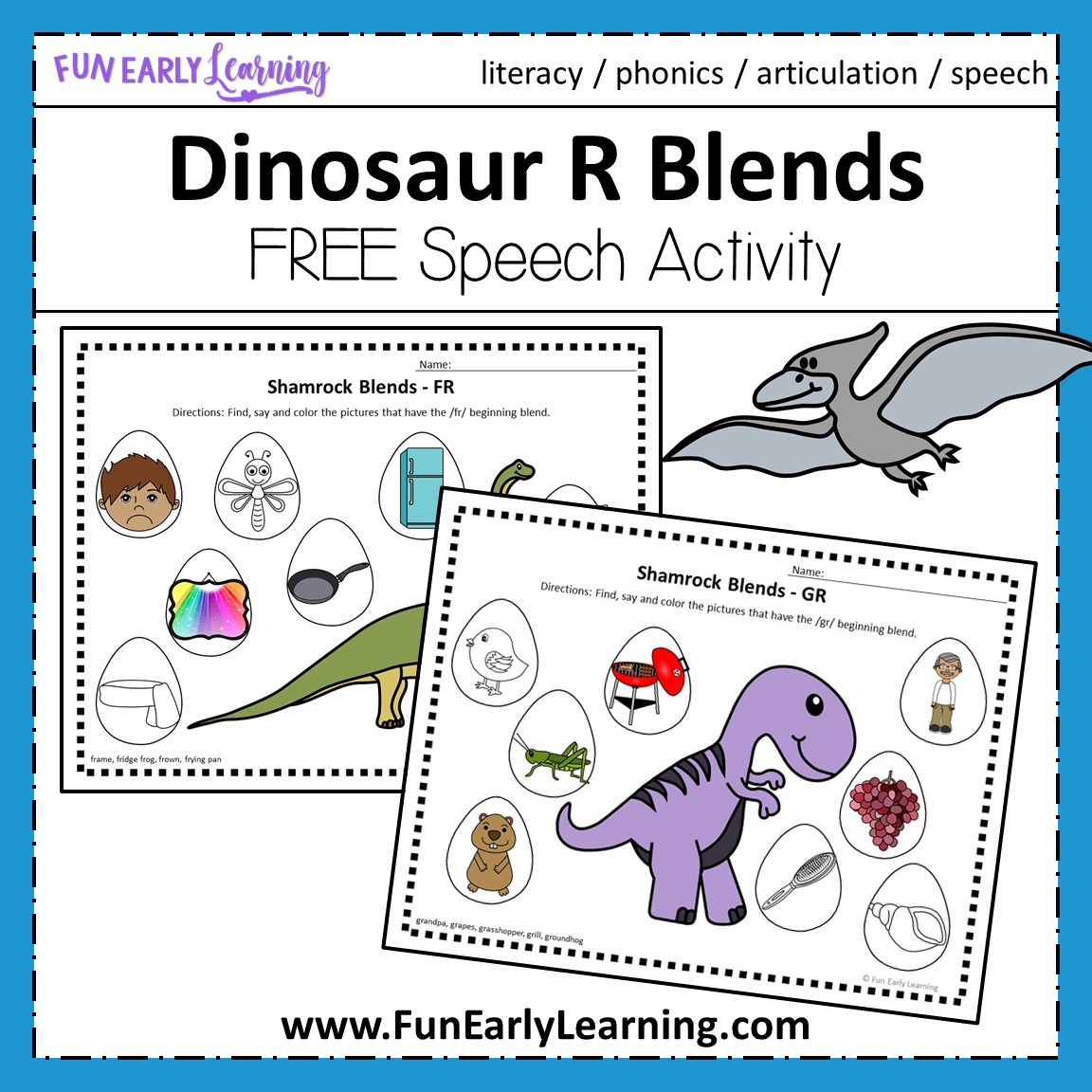 Dinosaur R Blends Articulation Speech Activity For