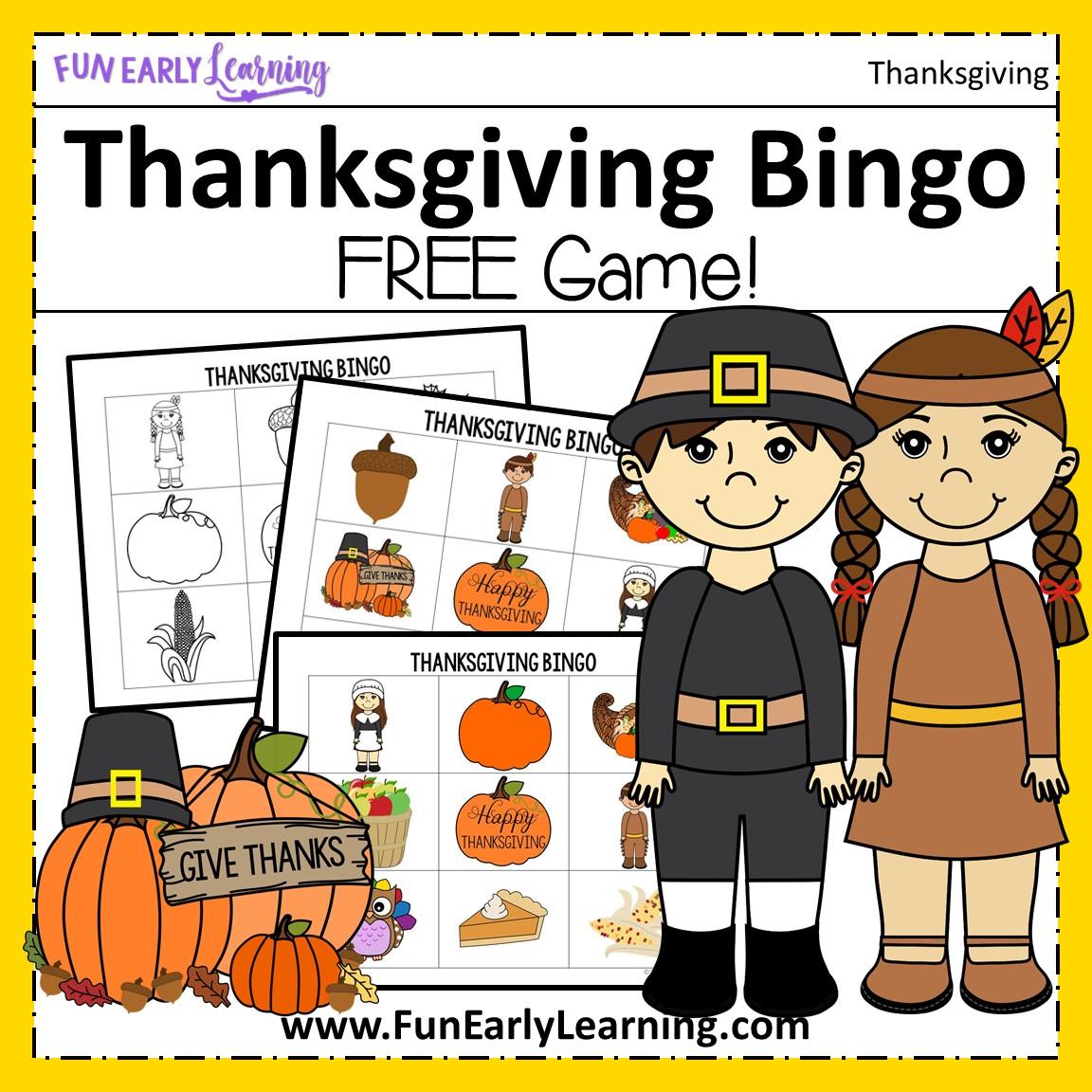 Thanksgiving Bingo Game Free Printable For Preschool And