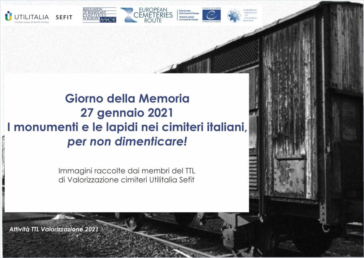 """Giorno della Memoria: """"I monumenti e le lapidi nei cimiteri italiani per non dimenticare"""" a cura di Utilitalia Sefit"""