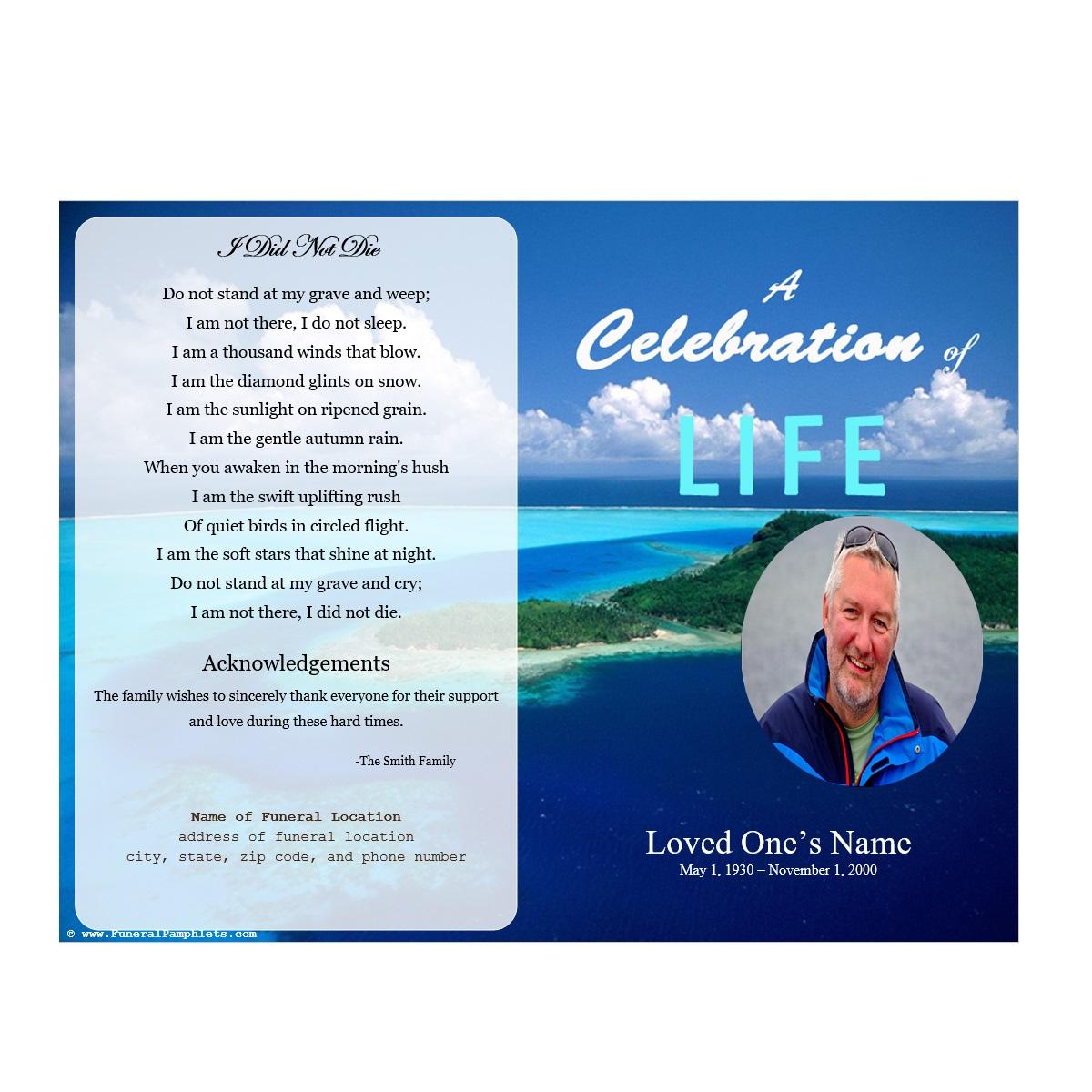 Island Single Fold Memorial Program Funeral Pamphlets