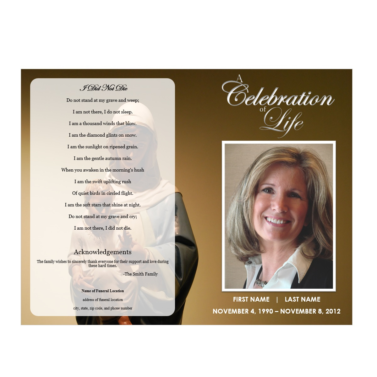 funeral template free – Funeral Pamphlet Templates