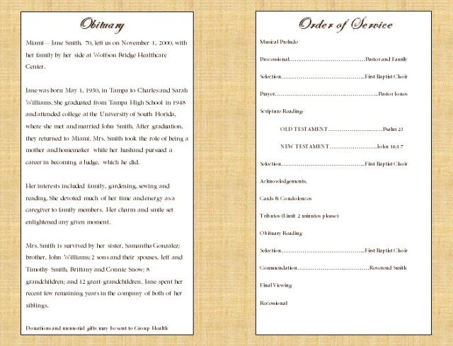 Funeral program sample | Funeral Program Template ...