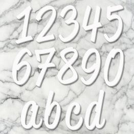 huisnummer script wit