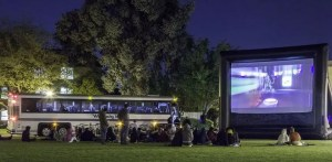 Bus bringing people to the Outdoor Cinema