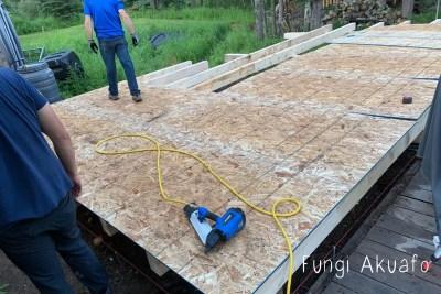 New Lab - Building the floor above screw piles
