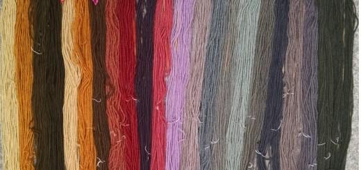 mushroom-dyed wool rainbow