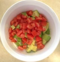 Avocado Chick Pea and Tomato Salad fresh and colorful #tastytuesday #funhappinessandlife #lettucefreesalad