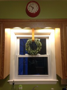 Sage wreath adds a natural touch and nice aroma to the kitchen. http://www.funhappinessandlife.com/five-uses-for-sage