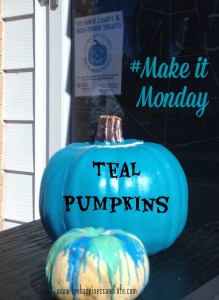 Teal pumpkins because we supply non-food items for Trick-or-Treat