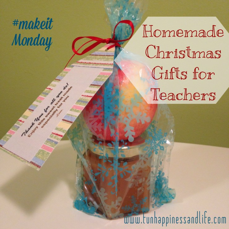 Apple and homemade salted caramel make terrific Christmas gifts for your child's teacher.
