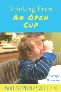 Drinking from an open cup is a challenge for many kids with special needs. Here's how we are learning this life long skill. #occupationaltherapy #feedingskills #specialneeds