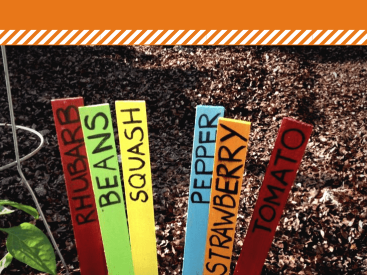 Colorful garden stakes using paint stir sticks, sharpie marker, paint and sealant. Great upcycle idea
