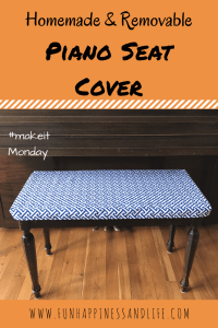 Homemade and removable piano seat cover to add some color and style. Protecting a family heirloom from your children as well. Easy sewing tutorial with pictures.