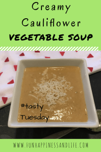Creamy cauliflower vegetable soup is a family favorite, can use up veggies left in your fridge and is freezable!