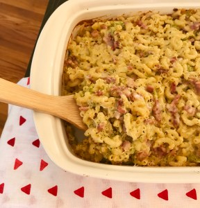 Macaroni casserole made with leftover ham from Easter.
