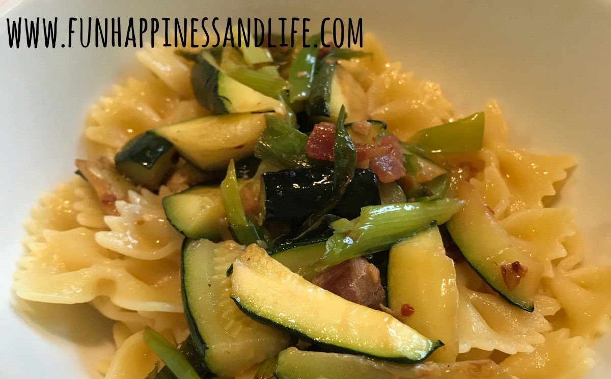 Spring Onion & Zucchini with Bacon Over Pasta