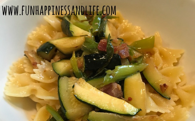 This combination of garden vegetables is great over pasta, rice or bread. Spring onions, zucchini and bacon is a tasty and easy meal to prepare this summer.