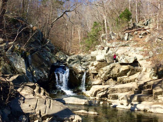 Scotts Run loop hike waterfall