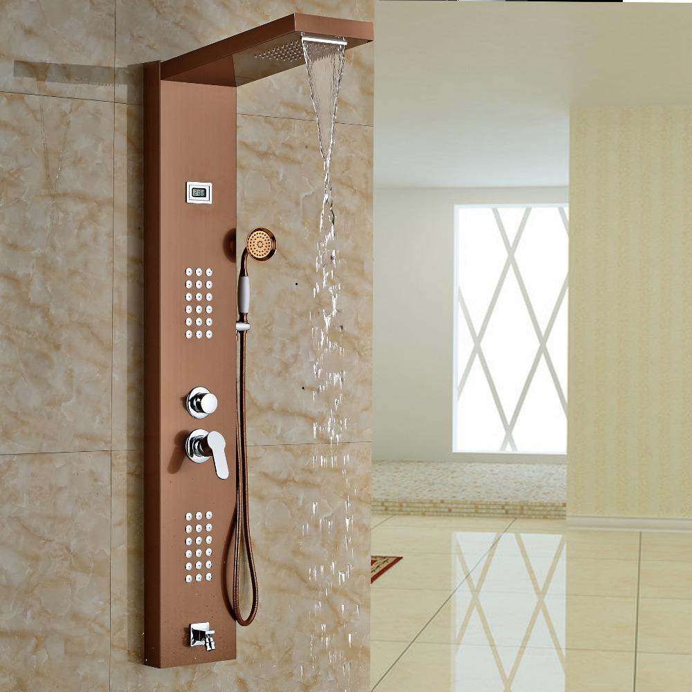 Aspen Rose Gold Massage Shower Panel System With Shower