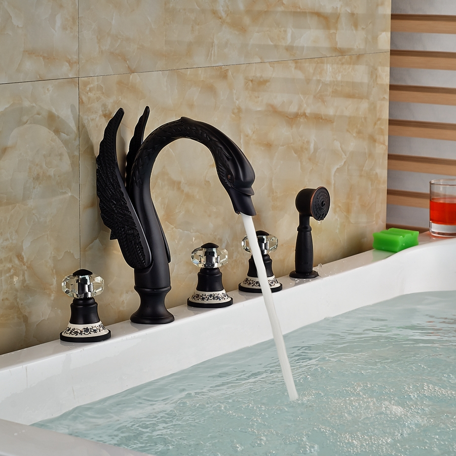 Kanim Swan Shaped 5 Hole Oil Rubbed Bronze Bath Tub Faucet