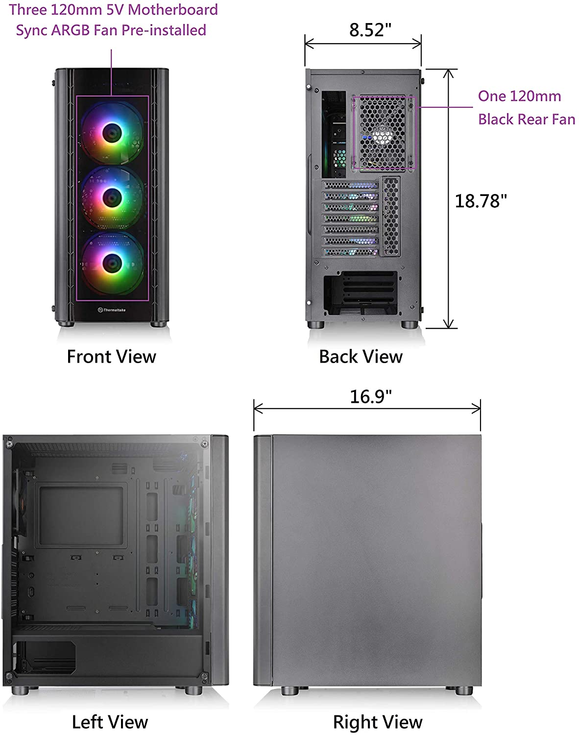 Thermaltake V250 Motherboard Sync ARGB ATX Mid-Tower Chassis 8