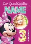 Minnie Mouse Age 3 Birthday Photo Card Funky Pigeon