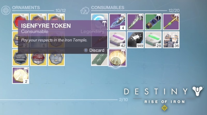 How to Use Isenfyre Token in Destiny Rise of Iron