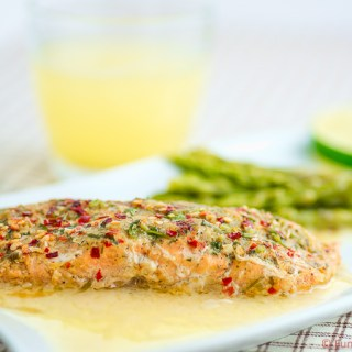 Baked Salmon with Lemon Butter Sauce funloveandcooking.com
