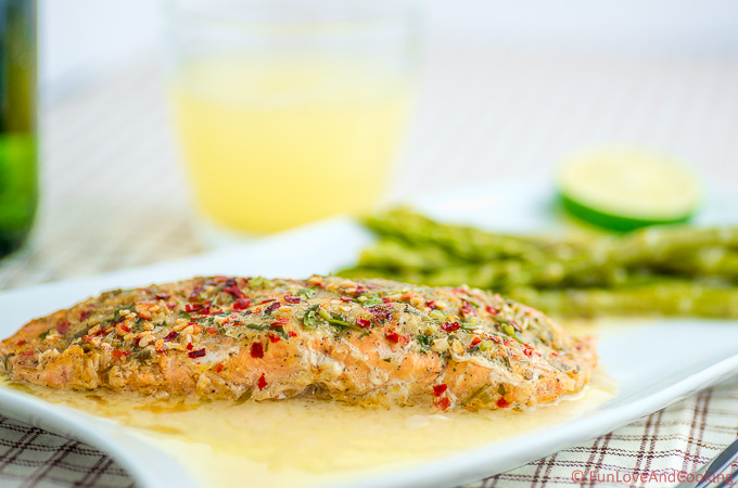Baked Salmon with Lemon Butter Sauce