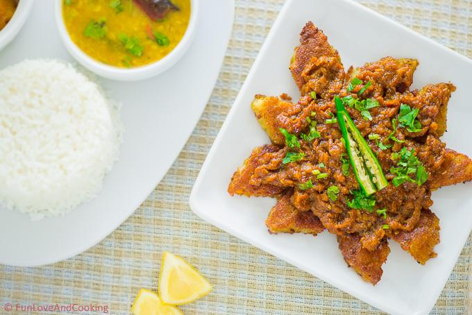 Green Banana Kofta Curry recipe funloveandcooking.com