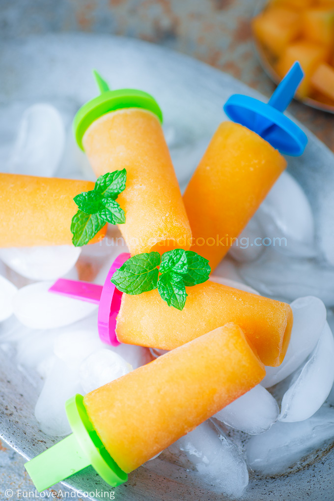 cantaloupe popsicles recipe funloveandcooking.com