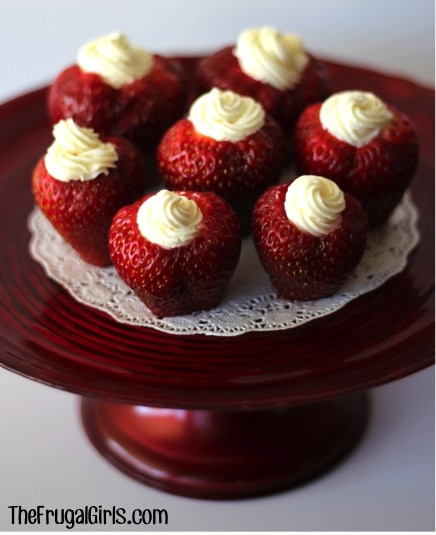 cream cheese filled strawberries recipe. Love this whole list of strawberry recipe ideas - something for every meal!
