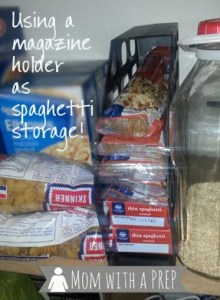 using a magazine holder for pantry pasta storage