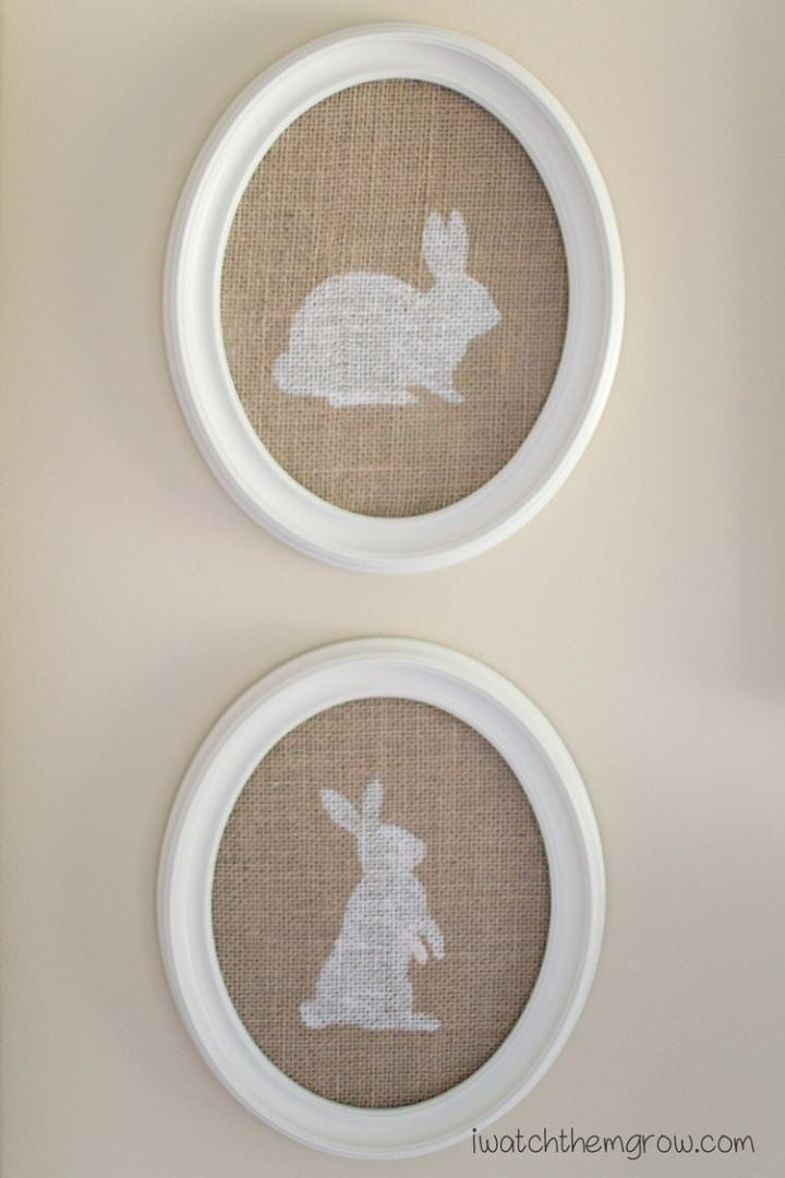 screen printed bunny wall decor