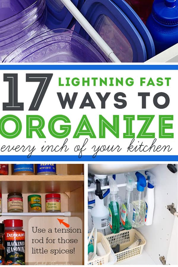 using tension rods in kitchen cabinets for cheap and easy kitchen organization