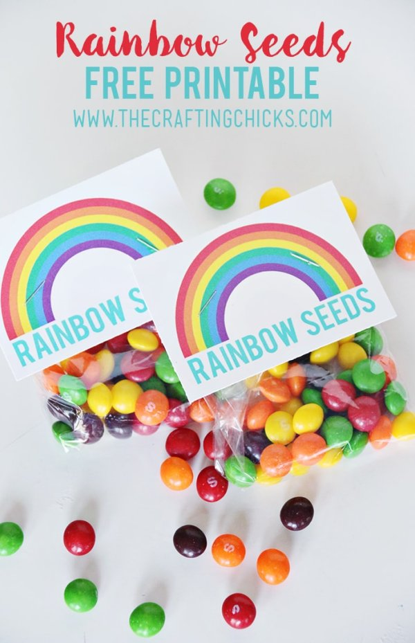 Rainbow Party Ideas: DIY rainbow party favor rainbow seeds with Skittles