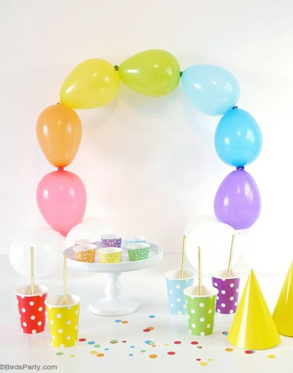 Rainbow party ideas: Simple DIY balloon arch rainbow party decor
