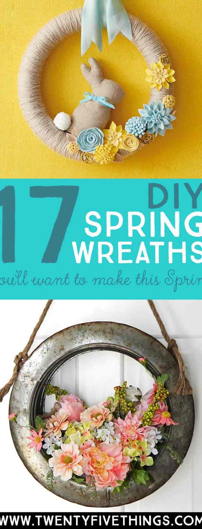 Make the perfect Spring wreath for your home this year with one of these DIY Spring wreath tutorials. Loads of ideas for all styles, including farmhouse decor and modern. #Spring #DIYWreaths