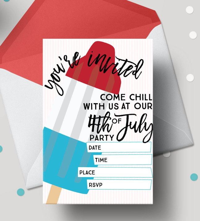 Bomb Pop 4th of July Free Printable Invitations
