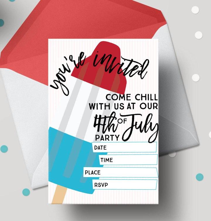 Bomb Pop 4th of July Free Printable Invitations