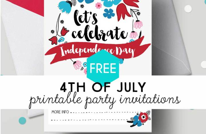 Set of 3 Free Printable invitations for 4th of July Party