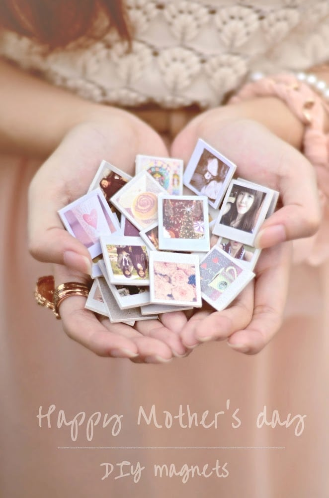 Things to make for Mother's Day: adorable tiny photo magnets with special memories.